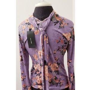Zara Purple Floral Long Sleeve Top